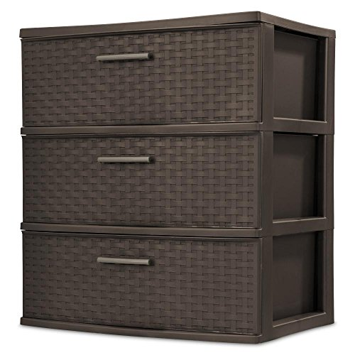Price comparison product image 3-Drawer Wide Weave Tower,  Espresso