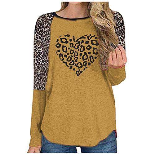 EUCoo Blusa de manga larga con estampado de leopardo, cuello redondo, estampado de amor, para mujer (F)