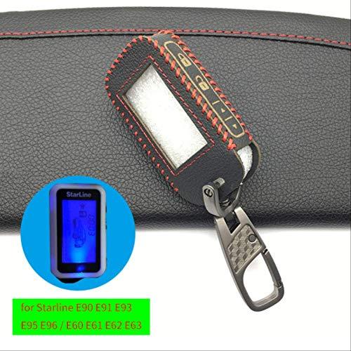 AHUIAI Schlüsseletui Für Russische Version 2-Wege Auto Großhandel Starline Alarm E90 E91 E60 E61 E62 Fob Fernschlüsselschalter Hochwertigem Leder SchlüsseletuiRot Und Eisen Buck