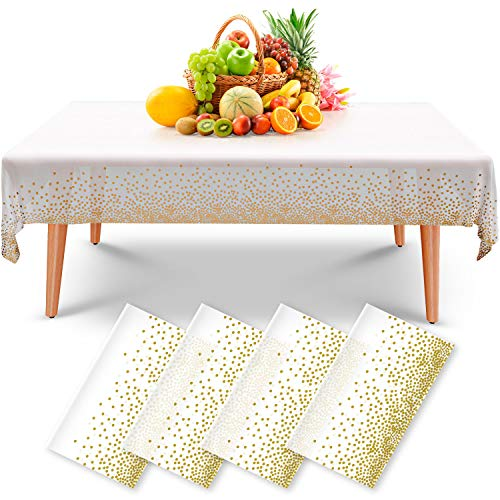 Rectangular Disposable Table Cloths - 4 Pack   Premium PEVA Material is Soft as Cotton and Durable as Plastic   Wrinkle, Crinkle, and Waterproof   Gold Table Covers   8ft of Coverage (Plastic)