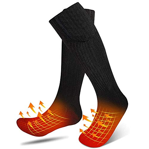 Heated Socks, Electric Heating Socks for Men Women, 4.5V Battery Heating Socks, Heating Settings Upgraded Sock Warm Cotton Socks for Outdoor Sport(Batteries not Included)