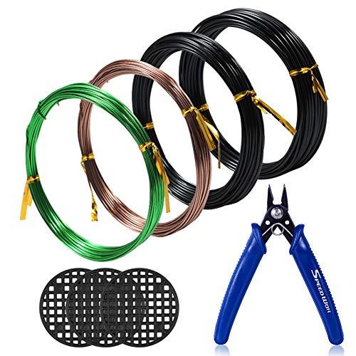 SPEEDWOX Bonsai Kit de Herramientas 4 Rollos con 3 tamaños 1 mm 1,5 mm 2 mm Alambre de Aluminio Total 131,2 pies Bonsai Alambre Cortador 3 Piezas Redondo Agujero pote Malla Almohadilla