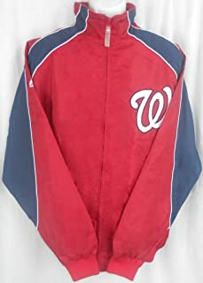 Majestic Washington Nationals MLB Textured Full Zip Red Jacket Big & Tall Sizes