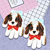 QWERGLL Moda Hombres Mujeres Guantes Cálidos Cute 3D Print Cute Animal Knitted Soft Gloves Winter Warm