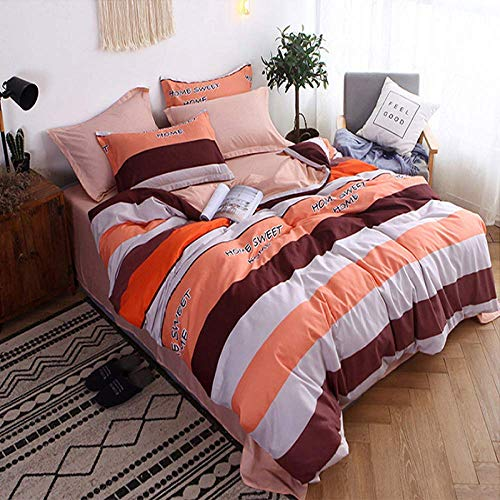 QWEASDZX Bedding Sets In Cotton Twill Padded Set Of Four Pieces Bed Sheets Duvet Cover Pillowcase Quilted And Soft Bedspread 1.2m