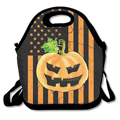 Citrouille et drapeau us Funny Halloween déjeuner Sac fourre-tout Boîte à lunch pour l'école d'extérieur