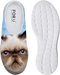 AXGM Men's Slippers Mesh Width Clogs Mules Beach Shoes Funny Cat Animal Print Fashion Slipper Men Casual Shoes Closed Toe ...
