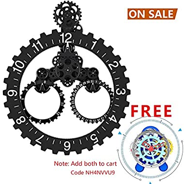 SevenUp Gear Clock Wall-Premium Plastic and Metal Parts Material, Best 3D Moving Gear Clock Wall, 26  x 22 , A Fine Artwork, Perfect for Living Room, Reading Room, Restaurant, Office Decor (Black)