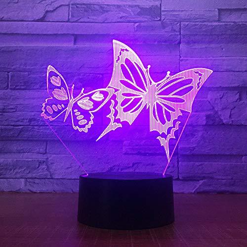 Preisvergleich Produktbild Jinson well 3D schmetterling Lampe optische Illusion Nachtlicht,  7 Farbwechsel Touch Switch Tisch Schreibtisch Dekoration Lampen perfekte Weihnachtsgeschenk mit Acryl Flat ABS Base USB Spielzeug
