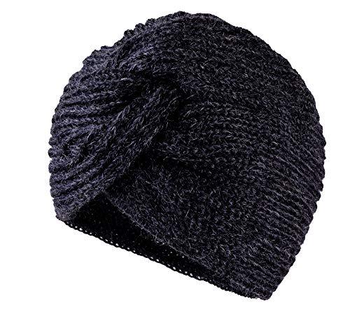 MFAZ Morefaz Ltd Damen Chemo Turban Twist Hut Mohair Wolle für Krebs Kopfbedeckung Headwrap Strickmütze Schals (Dark Grey)