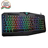 VicTsing Tastiera Gaming PC, Tastiera RGB Cablata - 8 Tasti Multimediali Indipendenti - 25 Tasti Anti-ghosting - Layout Italiano (QWERTY), per PC, PS4, Laptop/Desktop, Mac, Nero