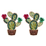 niumanery Boho Handmade Seed Beaded Leaf Cactus Ice Cream Flamingo Pendant Drop Earrings B