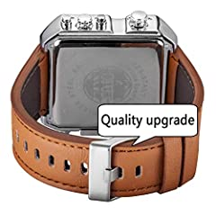 JSDDE Men's Brown Square Digital Electronic Genuine Leather Band 3ATM Waterproof LCD Sport Watch Casual Business Quartz Military Multifunction Back Light #3