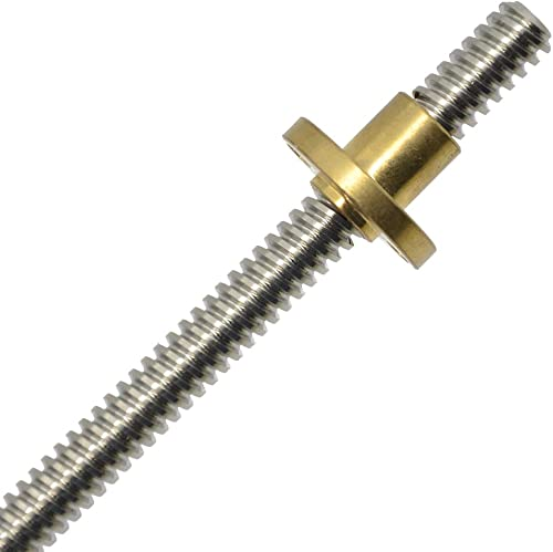 ReliaBot 750mm T8 T8x4 Tr8x4 Lead Screw and Brass Nut (Acme Thread, 2mm Pitch, 2 Start, 4mm Lead) for 3D Printer and ...