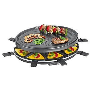 Clatronic RG 3517 Raclette Grill para 8 Personas, 1400 W, Acero Inoxidable, Negro