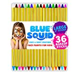 Face Paint Crayons for Kids, Blue Squid 36 Jumbo 3.25' Face & Body Painting Makeup Crayons, Safe for Sensitive Skin, 8 Metallic & 28 Classic Colors, Great for Birthdays & Halloween Makeup