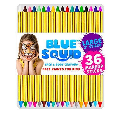 Kinderschminke Set Face Paint, Hochwertiges Kinder Schminkset Ideal für Partys Mädchen, Schablonen, Glitzer, Gesichtsfarben, Halloween & Fasching, Professionelle Schminke von Blue Squid
