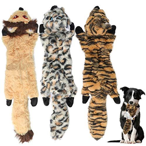 3 Pack Hund Quietschende Kauen Spielzeug,Tiger,Leopard,Löwe Welpenspielzeug Keine Füllung Hund Spielzeug Plüsch Tier Hundespielzeug für Kleine Medium Hund