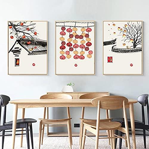 Juego de 3 nuevos carteles de estilo chino, caqui, cielo, linterna, lienzo, pintura, impresión, imágenes artísticas de pared para decoración del hogar, 40x60cm | 15.7x23.6'x3 sin marco