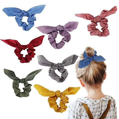 Bow Scrunchies Big Hair Ties - 8 Pcs Silk Spiral Elastics Soft Curly Hair Ties Hair Elastics Ties For Blonde Women Thick Hair Kids Girls (B13)