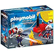 Fun for little heroes: PLAYMOBIL Firefighters with Water pump and many accessories for accurate role-play Two figurines with fire brigade equipment, fire extinguisher, breathing apparatus, axe, etc., can be combined with PLAYMOBIL Fire Truck (9466 so...