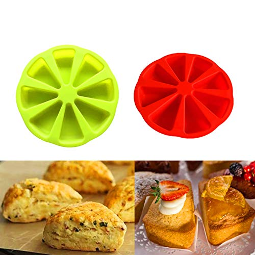 2pcs 8 Cavity Silicone Scone Pan , Baking Molds Triangle Cavity Silicone, Cake Slice Mold Silicone Triangle, Pizza Slices Pan, Cake Molds Soap Mould Pizza Pan