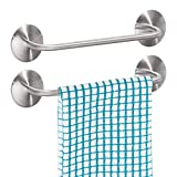 mDesign Decorative Metal Small Towel Bar - Strong Self Adhesive - Storage and Display Rack for Hand, Dish, and Tea Towels - Stick to Wall, Cabinet, Door, Mirror in Kitchen, Bathroom - 2 Pack - Brushed