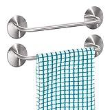 mDesign 2er-Set Handtuchhalter ohne Bohren – selbstklebende Handtuchstange aus gebürstetem Edelstahl – perfekt als Geschirrtuchhalter oder für Handtücher – mattsilberfarben