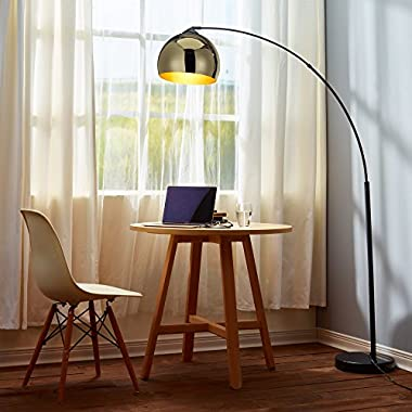 Teamson Design Versa Nora - Arquer Arc Floor Lamp with Gold Shade and Black Marble Base Living Room Bedroom