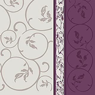 Dining Collection Decorative Pattern Paper Lunch Napkins - Plum Curlicue, 20 Count, 6.5 inch