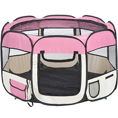 TecTake Welpenlaufstall Tierlaufstall für Kleintiere wie Hunde, Katzen - Diverse Farben - (Pink)