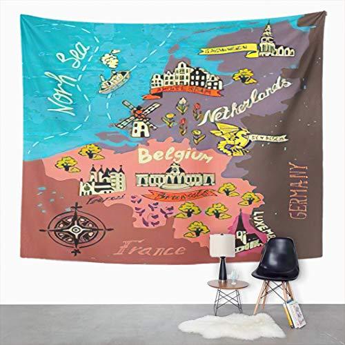 Y·JIANG Tapiz de dibujos animados, mapa de los Países Bajos, Bélgica, Luxemburgo, Bruselas, Europa, Amsterdam, tapiz grande decorativo para el hogar, dormitorio, 203 x 152 cm