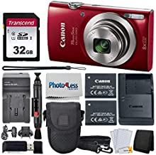 Canon PowerShot ELPH 180 Digital Camera (Red) + Transcend 32GB Memory Card + Point & Shoot Camera Case + Replacement Battery & Charger + USB Card Reader + Memory Card Wallet + Lens Cleaning Pen