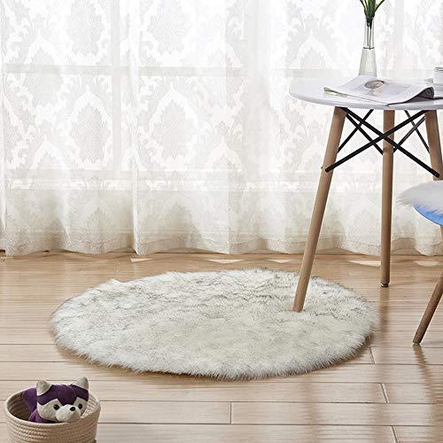DDELLK Vloerkleed schapenvacht, ronde shag, warme kunstwol, vacht, stoelovertrek, mat Hairy Shaggy Carpet Seat, textielbereik, speelhuisje, slaapkamer, 45 cm 45 cm Wit 2/45 cm