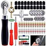 Keadic 70Pcs Tire Patch Roller Tool Set, Includes Valve Cores Tire Valve Caps Tire Repair Patches & 4-Way Valve Tool Dual Head Valve Core Repair Tool for Car Truck Motorcycle Bicycle