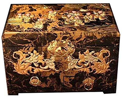 Caja de joyería caja de joyería caja de joyería de madera caja de joyería hecha a mano de joyería exquisito talla caja de joyería estilo retro procesa...