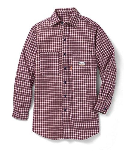 Rasco Fire Retardant RED PLAID Dress Shirt 7.5 oz, Medium Reg