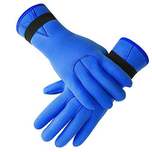 QiHaoHeji Guantes de neopreno para invierno, cálidos y resistentes al frío, guantes de natación, antideslizantes, para buceo y deportes acuáticos (color: azul, talla: XL)