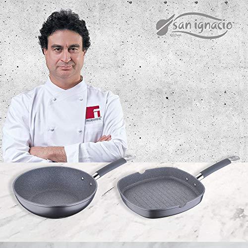 San Ignacio MasterPro Grill 28x28 y Wok 28, Gris, inducción, Aluminio Forjado