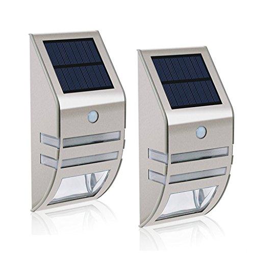 Lot de 2 lampes solaires LED MianBaoShu-Étanches-En acier inoxydable-Appliques murales pour l'extérieur-Avec capteur de mouvement 90 °Grand angle- Éclairage pour jardin,terrasse,chemin,etc.