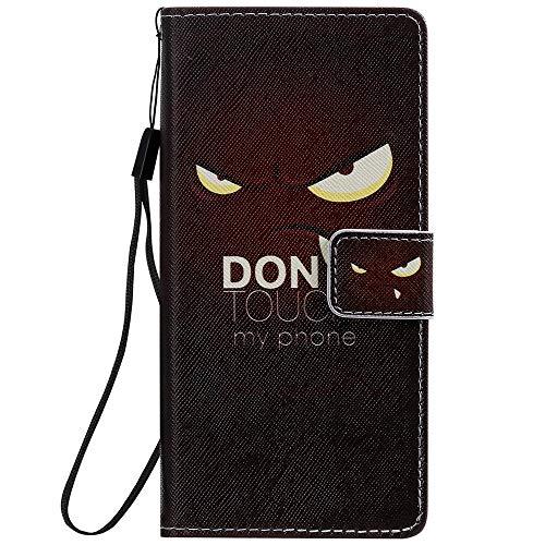 Sunrive Hülle Für Sony Xperia XZ1 Compact, Magnetisch Schaltfläche Ledertasche Schutzhülle Etui Leder Hülle Cover Handyhülle Tasche Schalen Lederhülle MEHRWEG(W17 Auge)