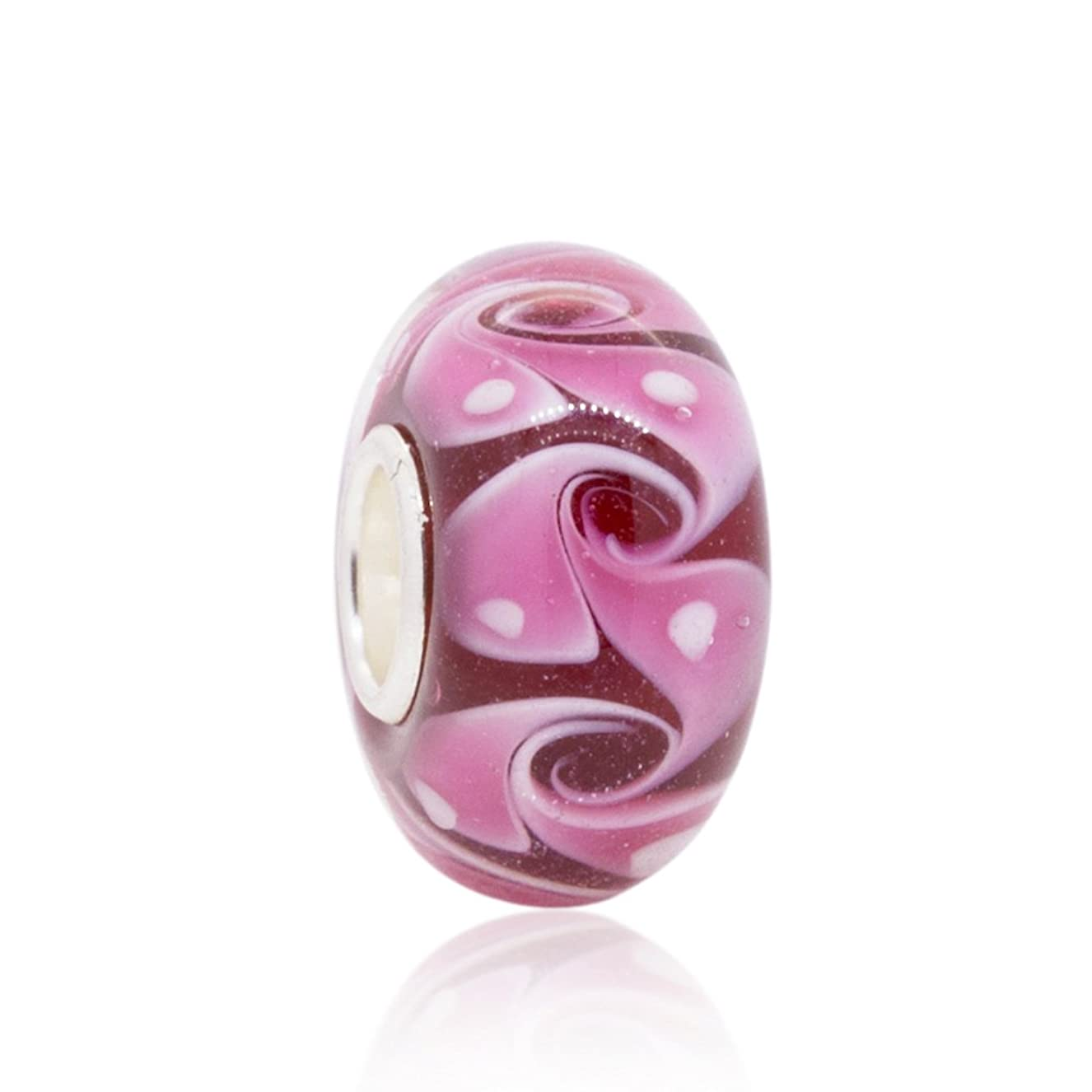 Swirl Pink Murano Glass Charm Bead - .925 Sterling Silver Core - Fits Pandora Charm Bracelet habmeacczs0987