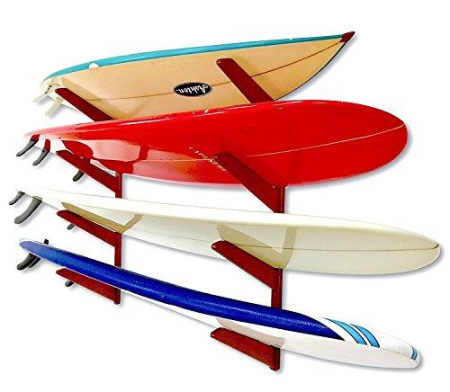 StoreYourBoard Timber Surfboard Wall Rack, für 4 Surfbretter, Wood Home Storage Mount System (Kirsche)