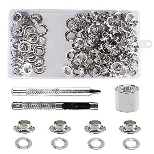 Gasea 100pcs Kit de Ojetes de Metal, Diámetro interior 10mm Herramientas de Ojetes de Arandelas Kit de Inoxidable Cobre- Plata
