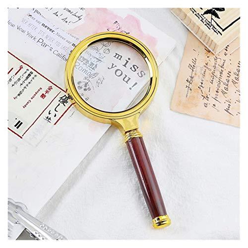 Lupa lectura lupas de gran aumento Lupa De Mano Portátil 10X 60mm / 70mm / 80mm / 90mm Lupa Lupa Portátil For Leer El Periódico De La Joyería Lupa (Color : Gold, Size : 10X)