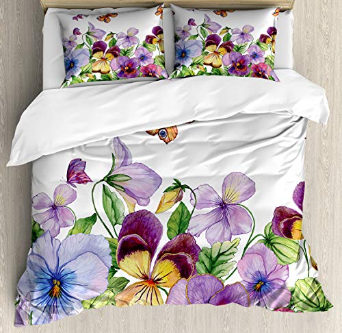 ABAKUHAUS bloemen Insecten Dekbedovertrekset, Bloemen Bijzonderheden, Decoratieve 3-delige Bedset met 2 Sierslopen, 230 cm x 220 cm, Fern Green Multicolor