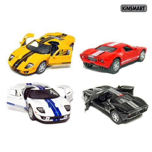 Set of 4: 5 2006 Ford GT Sport Car 1:36 Scale (Black/Red/White/Yellow) by Kinsmart