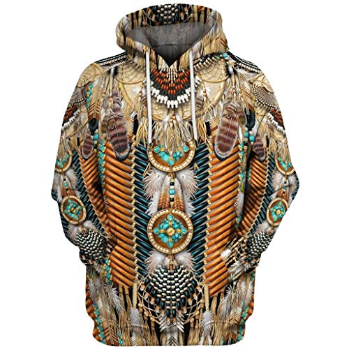 NotingBuss Mens Vintage Ethnic Style Hooded Sweatshirt with Kanga Pocket Casual Big and Tall Drawstring Hoodie Pullover Outerwear XS-7XL