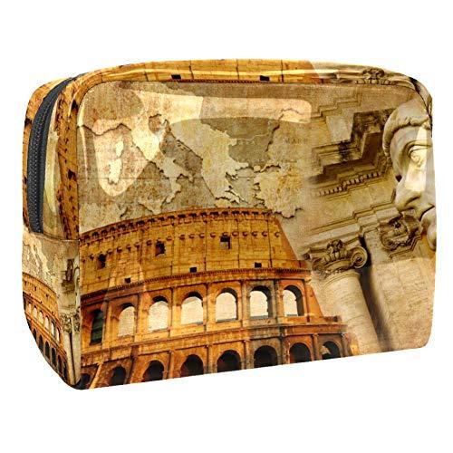 TIZORAX - Neceser de Arquitectura Romana Antigua Bolsa de maquillaje de PVC, bolsa de aseo de viaje, práctica bolsa organizadora para mujeres