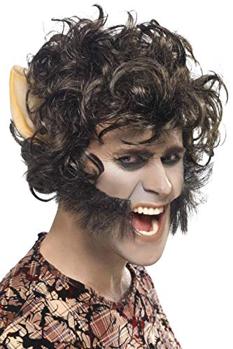 Smiffys Perruque loup garou, Noir, avec grandes oreilles & pattes